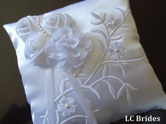 Wedding Ceremony Off White Satin Crystal Flower Ring Bearer Pillow Cushion