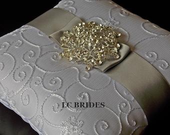 Wedding Ring Bearer Pillow, Custom, Silver, White, Ivory