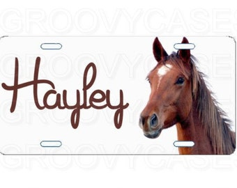 Personalized License Plate Custom Car Tag Horse Brown