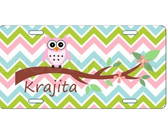 Personalized License Plate Custom Car Tag Pink Owl and Chevron