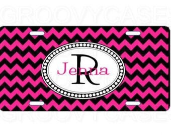 Personalized License Plate Custom Car Tag Hot Pink Black Chevron