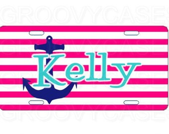 Personalized License Plate Custom Car Tag Hot Pink Stripes Blue Anchor