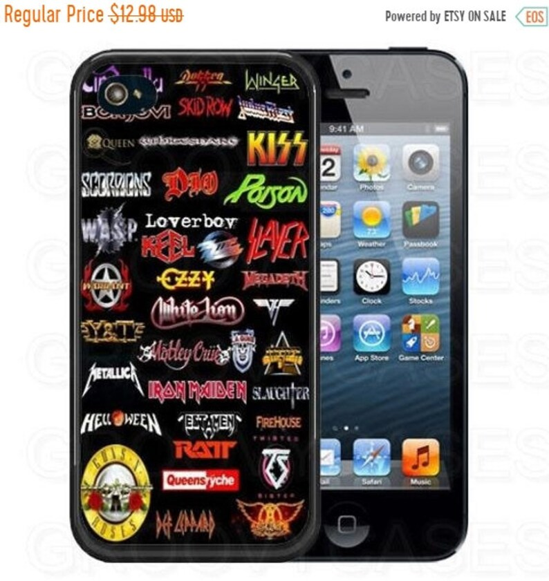 ON SALE 80s Rock Music Collage iPhone 5 5s 5c SE 6s 7 8 X Xr Xs Max Plus  Case Rubber