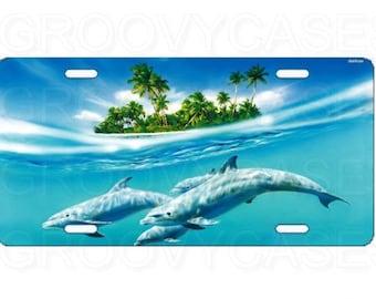 License Plate Custom Car Tag Dolphins Beach