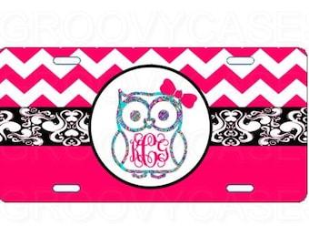 Monogrammed License Plate Custom Car Tag Owl Hot Pink Chevron