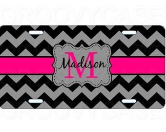Personalized License Plate Custom Car Tag Black Gray Chevron Hot Pink
