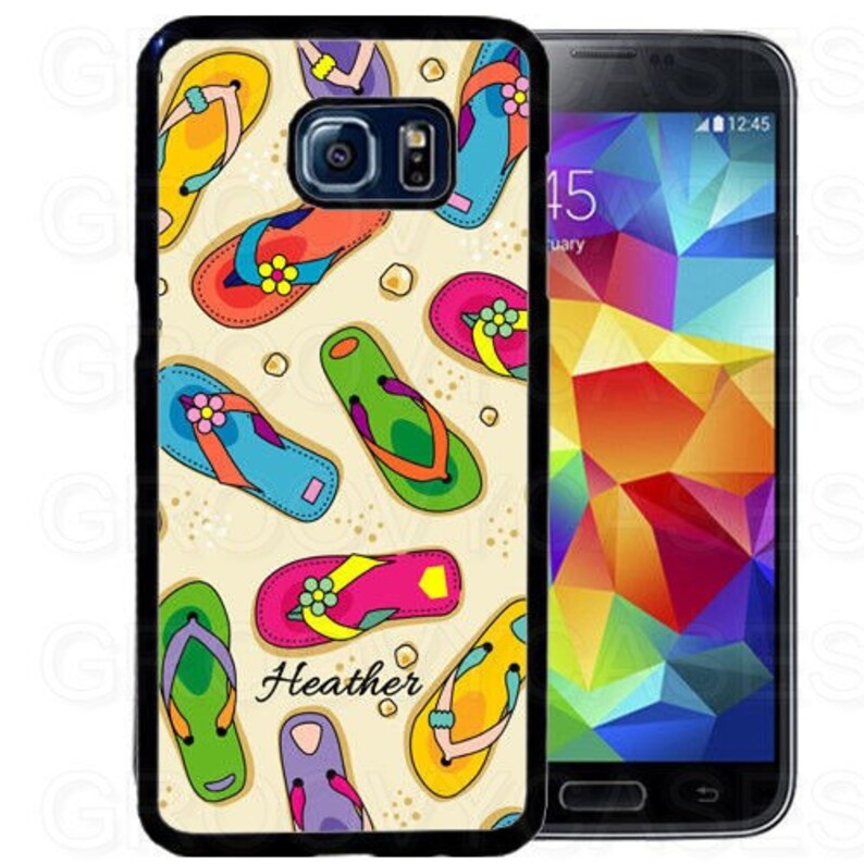 sports shoes 6cac9 c7b66 Personalized Samsung Galaxy S7 S8 S9 S10 Edge Plus Case Rubber Summer Flip  Flop