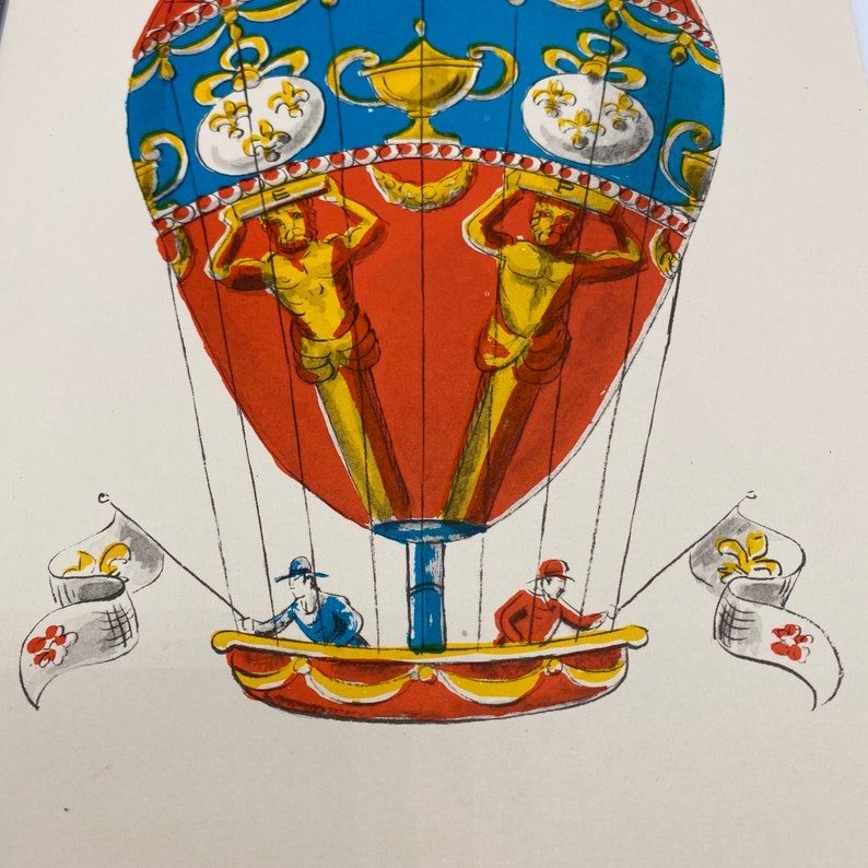 Vintage Montgofier French Hot Air Balloon Print 1955