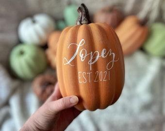 Personalized Pumpkin - Pumpkin Sign - Custom Name Pumpkin - Last Name Pumpkin - Calligraphy Pumpkin - Custom Pumpkins - Fall Home Decor