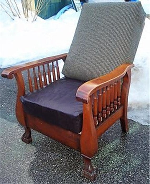 Excellent Morris Chair Antique Recliner Cherry Lions Paws 7 Spindle Chenille Faux Leather Caraccident5 Cool Chair Designs And Ideas Caraccident5Info