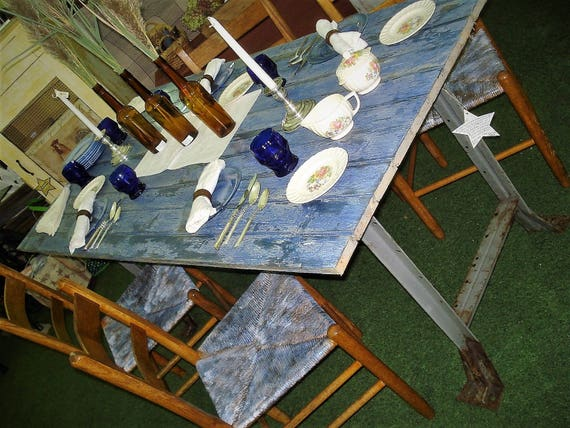 Farmhouse Dining Table Barn Door Table Top With Iron Etsy