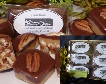 Gift Box Pecan Turtles  ~ 1 Dozen soft, nut turtle, gourmet caramel, extra creamy,  homemade caramels