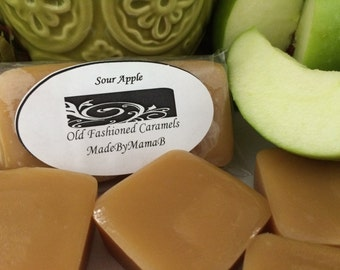 Caramels Sour Apple ~ Box of 32 extra creamy, old fashioned, homemade soft caramels -