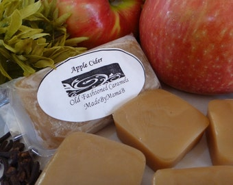 Apple Cider Caramels ~ Box of 32 extra creamy, old fashioned, homemade caramels