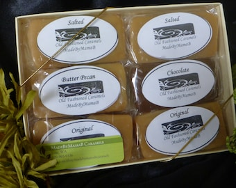 Variety  ~ Gift Box of 1 or 2 dozen  extra creamy, gourmet, homemade caramels -  four indulgent flavors