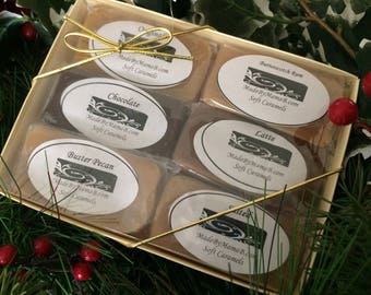 Soft Caramels Sampler Gift Box ~ 1 or 2 dozen extra creamy, gourmet, homemade caramels -  six indulgent flavors