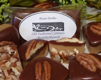 Caramel Pecan Turtles ~ Box of 24 extra creamy, old fashioned, homemade caramels nuts