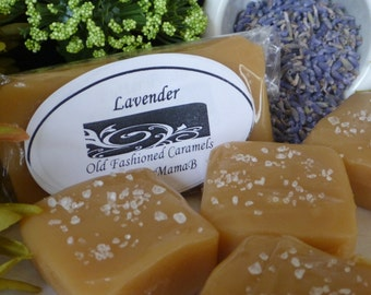 Salted Lavender caramels ~ Box of 32 extra creamy, gourmet, soft homemade caramels