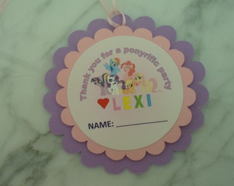 My Little Pony Party- MLP Favor Tags (10) - Birthday Party, Baby Shower-My Little Pony Party Supplies-Thank you Tags-Birthday Bag Tags