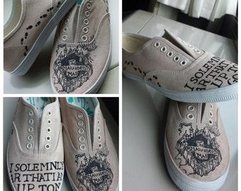 Custom Painted Harry Potter Marauders Map Shoes