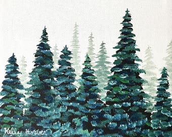 Misty Pines 5 / Original Oil Painting by Kelly Korver / 8 in x 8 in x 3/4 in / Square Painting / Landscape Painting / Ready to Ship
