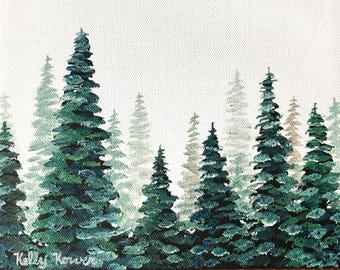 Misty Pines 6 / Original Oil Painting by Kelly Korver / 8 in x 8 in x 3/4 in / Square Painting / Landscape Painting / Ready to Ship