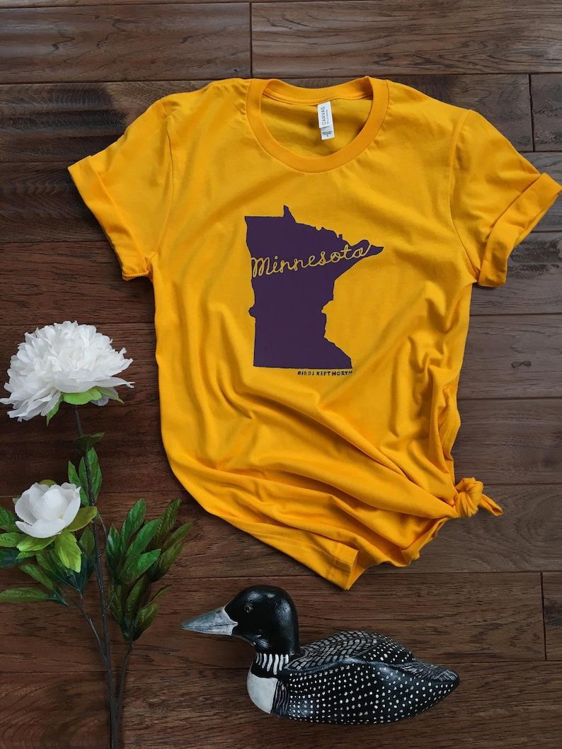 bdff9db40b593 Unisex Shirt / Purple and Gold Minnesota Cursive Print / Gold / Jersey  Short Sleeve Tee / Tshirt Graphic Tee / Vikings Tee