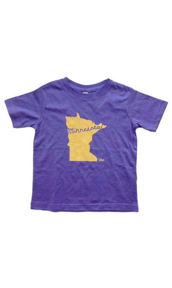 2b05884bff28a Children's T-Shirt / Minnesota Purple & Gold / MN Sports / Football Team  Colors / Printed by Hand / 18MOS / 2T / 3T / 4T / 5/6 Rabbit Skins