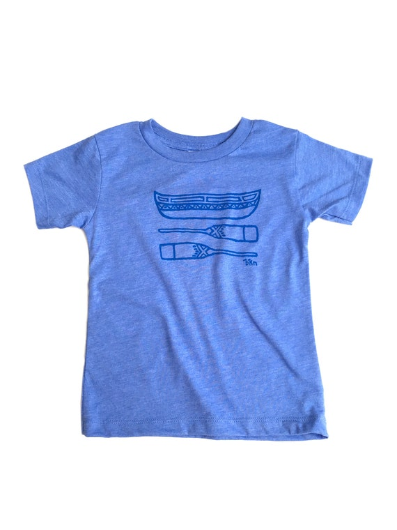 17be37639edcc Toddler Tee / Canoe and Paddles Print / Printed by Hand / Short Sleeve /  Heather Columbia Blue Shirt / 2T / 3T / 4T / 5T