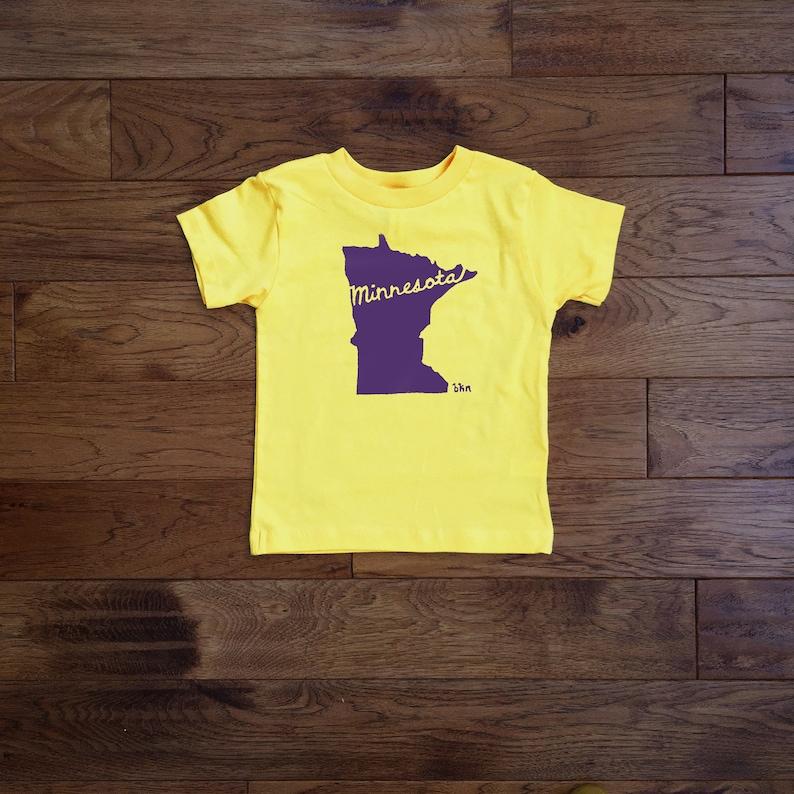5353f6557999f Toddler Tee / Minnesota Cursive Print / Purple Print / Printed by Hand /  Short Sleeve / Yellow Shirt / 2T / 3T / 4T / 5T