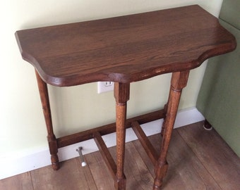 Vintage Wood Hall Table/Half Moon Hall Table/Vintage Entry Half Moon Table/Small  Country Table