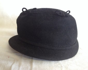 Vintage Black Felt Ladies Hat Glenover Henry Pollack Co New York
