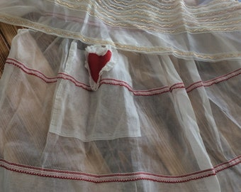 Two Sheer Aprons /Sheer Apron with Red Heart/Sheer Apron Gold Trim