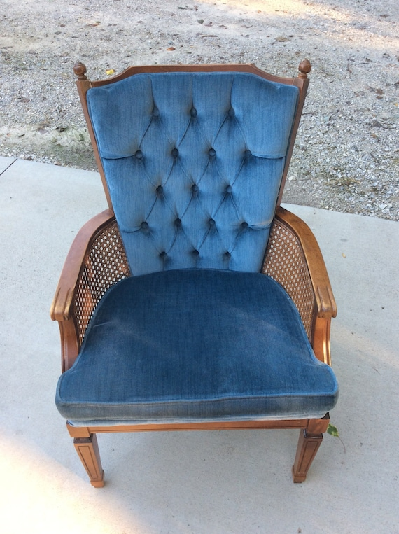 Midcentury Tufted Blue Cushion Wicker Cane Accent Chair By | Etsy