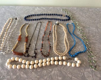 Lot of 10 Beaded Necklaces/Beads all Shapes and Sizes/Costume Jewelry/Gift Lot