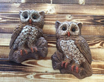 Pair of Vintage Brown Owl Plaques/Wall Decor