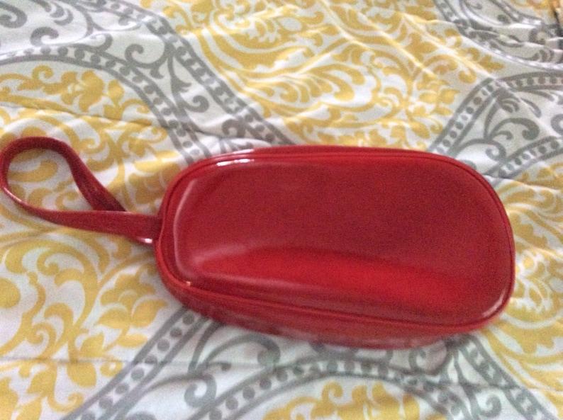 Vintage Red Vinyl Celebrity Zipper Travel BagRed Travel Makeup BagSmall Travel Bag Girls Red Bag