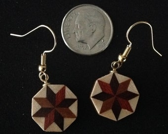 ff474732a Wood Quilt dangle earrings