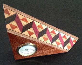 Wood inlay battery clock