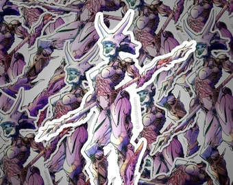 Skull Warrior Lady — Cyberpunk Mecha Art | Die Cut Sticker | Decal | Vinyl + Waterproof | Mecha | Robot | Anime