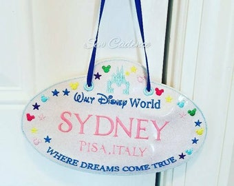 Vacation Stroller Name Sign ~ Magical Vacation Sign ~ WDW Vacation ~ California Land Parks Tag ~ Paris Trip Luggage Tag ~ Wheelchair Sign