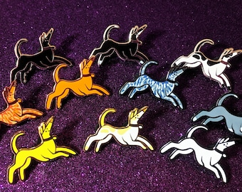 Hard Enamel Pins Bounding Hounds - Greyhound Charity Pins