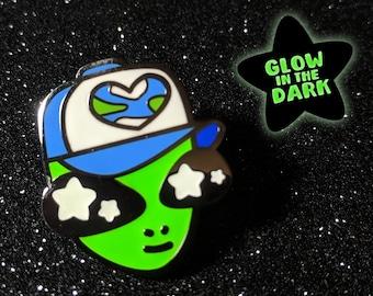 UFO Space Alien Pal Glow in the Dark Hard Enamel Pin