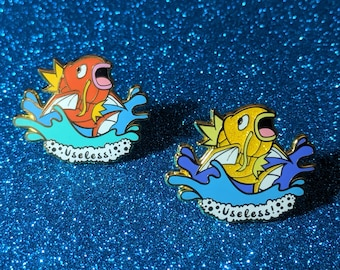 Hard Enamel Pins Useless Magikarp  - Regular or Shiny with glitter!