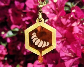 Honey Drip Bee Larva Laser Cut Acrylic Necklace
