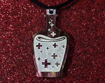 Health Potion Bottle Glow in the Dark Acrylic Necklace