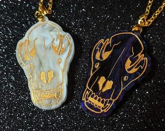 Wolf Skull Acrylic Necklace