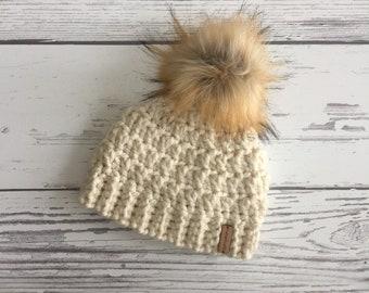 8dec2319b The Lakeside Beanie Hat with Black/Grey Flecks Faux Fur Pom | Etsy