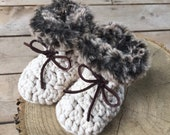 Suede Ties Crochet Baby Booties with Faux Fur Trim, Slippers, Toddler Booties, Boots Socks, Photo Prop, Custom (newborn-toddler)