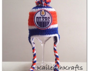 23b13661bc8 Handmade Edmonton Oilers Crochet Hat with NHL Patch  Photo Prop  (newborn-adult  made to order)